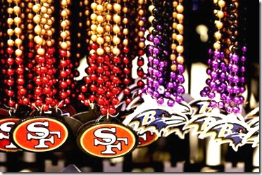 Jan 27, 2013; New Orleans, LA, USA; A detailed view of beads on display inside the NFL Shop at the Convention Center prior to Super Bowl XLVII to be played between the Baltimore Ravens and the San Francisco 49ers on February 3, 2013 and the Mercedes-Benz Superdome.  Mandatory Credit: Derick E. Hingle-USA TODAY Sports
